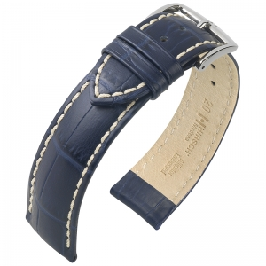 Hirsch Modena Watchband Calfskin Alligatorgrain Blue