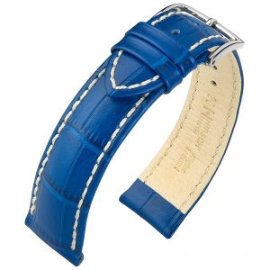 Hirsch Modena Calfskin Watchband Alligatorgrain Ocean Blue