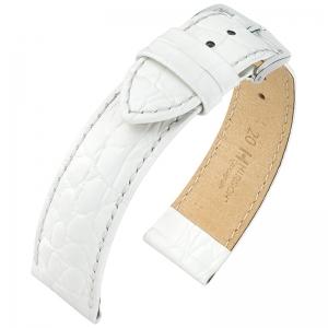 Hirsch Crocograin Watchstrap White