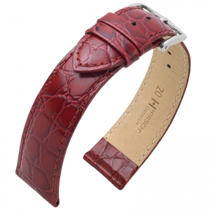 Hirsch Crocograin Watch Band Burgundy