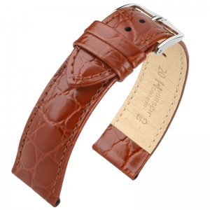 Hirsch Crocograin Watch Band Golden Brown