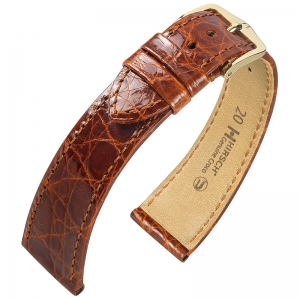 Hirsch Genuine Croco Watch Band Crocodile Skin Shiny Golden Brown