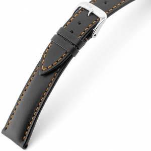 Rios Smart Watch Strap Cowhide Black with Orange Stitching