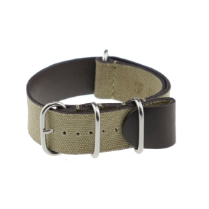 Rios NATO Strap Canvas on Leather Khaki - SS/Matte/PVD