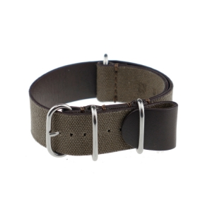Rios NATO Strap Canvas on Leather Brown - SS/Matte/PVD