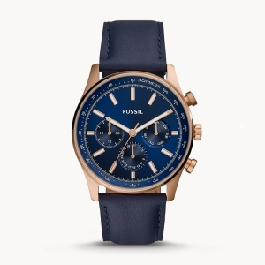 Fossil BQ2449 Watch Strap Blue Leather