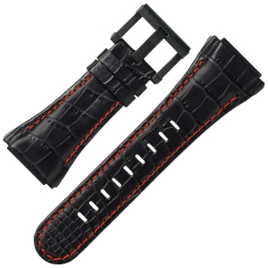TW Steel Watch Strap CE4009 CEO Tech 48mm - Black Leather, Red Stitching