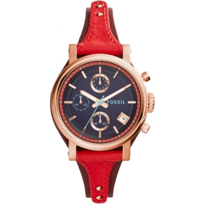 Fossil ES3906 Watch Strap Red Leather