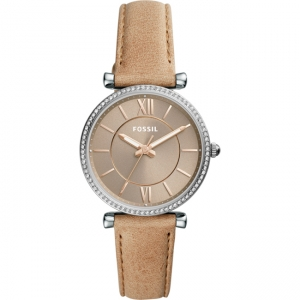 Fossil Carlie ES4343 Watch Strap Brown Leather