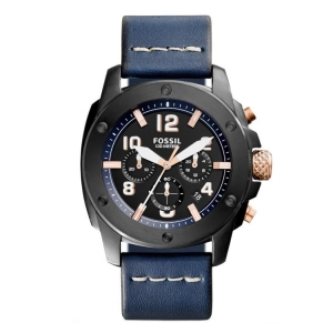 Fossil FS5066 Watch Strap Blue Leather