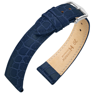 Hirsch Aristocrat Watch Band Crocograin Blue