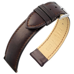 Hirsch Merino Artisan Watch Band Nappa Sheepskin Dark Brown