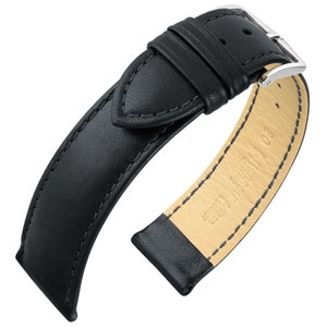 Hirsch Merino Artisan Watch Band Nappa Sheep Skin Black
