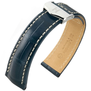Hirsch Navigator Watch Strap for Breitling Folding Clasp Louisiana Alligator Matte Blue