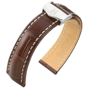 Hirsch Navigator Watch Strap for Breitling Folding Clasp Louisiana Alligator Matte Brown