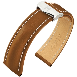 Hirsch Navigator Watch Strap for Breitling Folding Clasp Italian Calf Skin Golden Brown