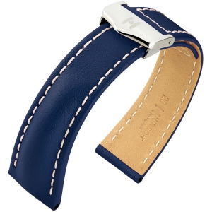 Hirsch Navigator Watch Strap for Breitling Folding Clasp Italian Calf Skin Blue