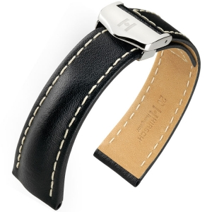 Hirsch Navigator Watch Strap for Breitling Folding Clasp Italian Calf Skin Black