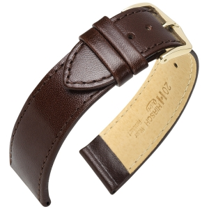 Hirsch Osiris Watch Band Box Leather Dark Brown