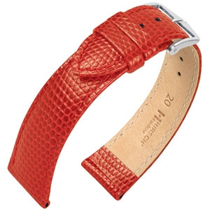 Hirsch Rainbow Watch Band Lizardgrain Red