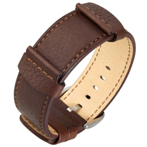 Hirsch Rebel Watch Band Saddle Leather NATO Style Brown