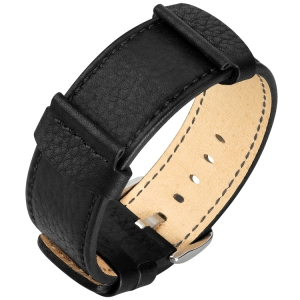 Hirsch Rebel Watch Band Saddle Leather NATO Style Black