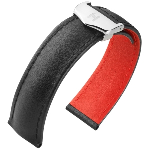 Hirsch Speed Watch Strap for TAG Heuer Folding Clasp Calf Skin Black