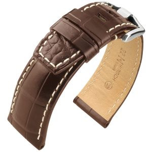 Hirsch Tritone Watch Strap for Panerai Nile Crocodile Skin Semi-Matte Brown
