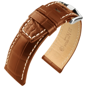 Hirsch Tritone Watch Strap for Panerai Nile Crocodile Skin Semi-Matte Golden Brown