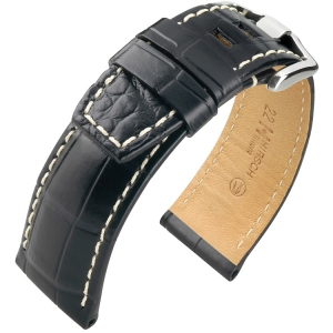 Hirsch Tritone Watch Strap for Panerai Nile Crocodile Skin Semi-Matte Black