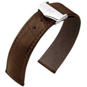 Hirsch Voyager Watch Strap for Omega Folding Clasp Louisiana Alligator Skin Dark Brown