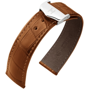 Hirsch Voyager Watch Strap for Omega Folding Clasp Louisiana Alligator Skin Golden Brown