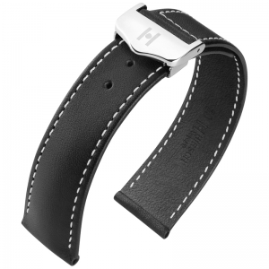 Hirsch Voyager Watch Strap for Omega Folding Clasp Italian Calf Skin Black White Stitching