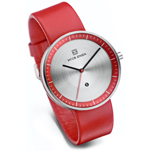 Jacob Jensen Watch Band Strata 273, red leather 20mm