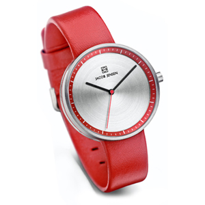 Jacob Jensen Watch Band Strata 283, red leather 16mm