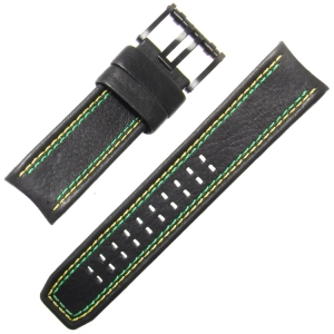 Luminox Tony Kanaan Model 1188 Watch Strap Black Leather Green Yellow Stitching 26mm - FE.1180.20B