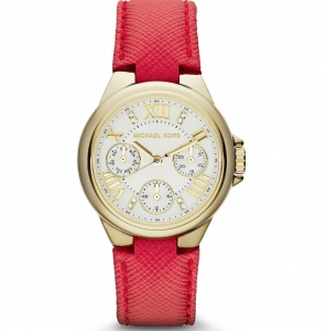 Michael Kors MK2321 Watch Strap Red Leather