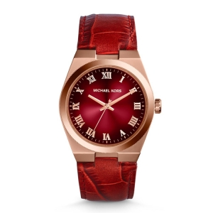 Michael Kors MK2357 Watch Strap Red Leather