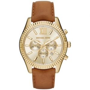 Michael Kors MK8447 Watch Strap Brown Leather