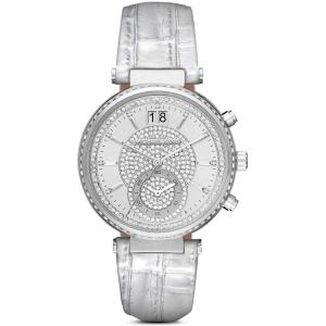 Michael Kors MK2443 Watch Strap Silver Leather