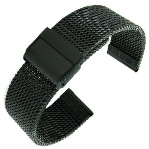 Mesh Milanaise Watch Bracelet Woven Steel Black