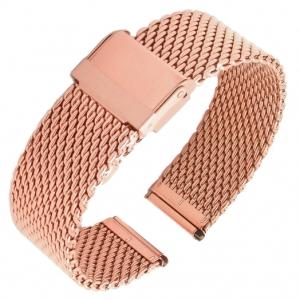 Mesh Milanaise Watch Bracelet Woven Rosegold Steel