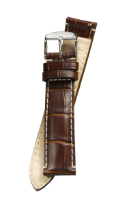 Fromanteel Alligatorgrain Watch Band Brown White Stitching
