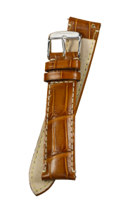Fromanteel Alligatorgrain Watch Band Cognac White Stitching L/XL