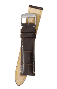 Fromanteel Alligatorgrain Watch Band Dark Brown White Stitching