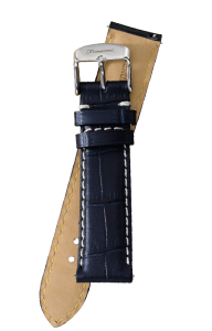Fromanteel Alligatorgrain Watch Band Dark Blue White Stitching