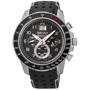 Seiko Sportura Watch Strap SPC139P1 Black Leather