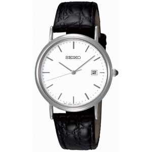 Seiko Watch Strap SKK693P1 Black Leather