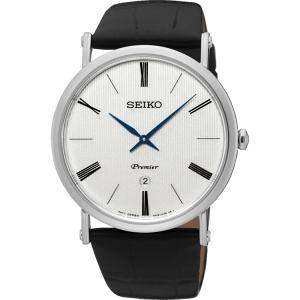 Seiko Premier Watch Strap SKP395 Black Leather