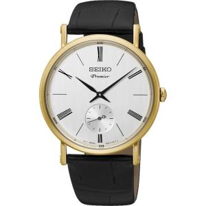Seiko Premier Watch Strap SRK036P1 Black Leather